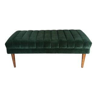 Forest Velvet Channel Bench