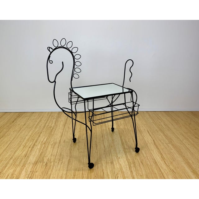 John Risley horse form wire bar cart circa the 1960's. Wire frame has been professionally sandblasted and powdercoated in...