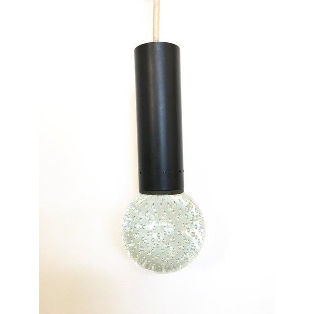 Vintage 1950s Murano glass bubble pendant by Gino Sarfatti & A. Seguso for lightolier. Clear glass & black metal, hardwire...