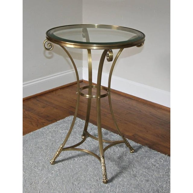 1980s Vintage Gueridon Brass Paw Footed Table For Sale - Image 9 of 11