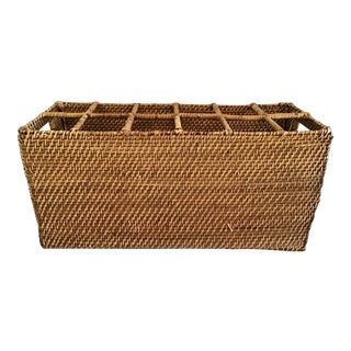 Boho Chic Rattan Wine Caddy For Sale