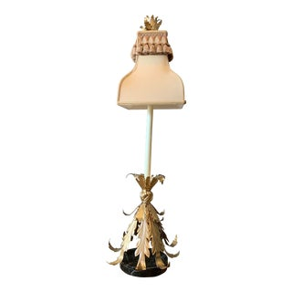 Vintage Chelsea House Tole Leaf Candle Lamp with Shade For Sale