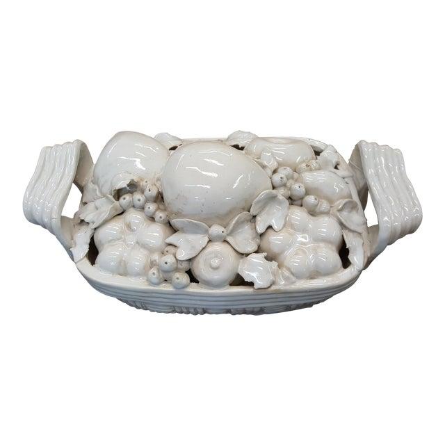 Decorative White Ceramic Fruit Basket For Sale