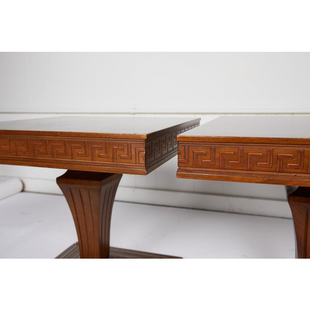 Wood Mid Century Side Tables With Greek Key Detail - a Pair For Sale - Image 7 of 9