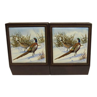 Vintage Leather Bookends With Tile Pictures of Pheasants Birds - a Pair For Sale