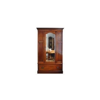 Antique English Wardrobe C. 1890 - Mirror Door Mahogany For Sale