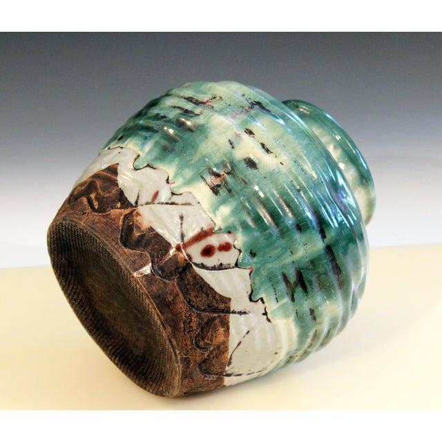 Ceramic Awaji Pottery Manipulated Jar Heavy Drip Lava Glaze Wabi Sabi Tea Ceremony Vase For Sale - Image 7 of 12