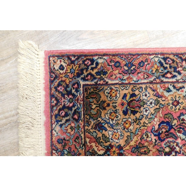 Karastan Kirman Fringed Rug #717 4' x 2' Salmon Pink Background Area Throw Rug For Sale In Philadelphia - Image 6 of 13