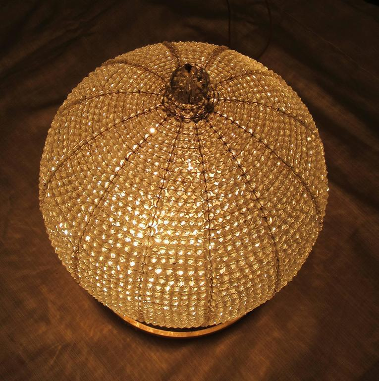 Early 20th century new york art deco crystal sphere light fixture image 5 of 7