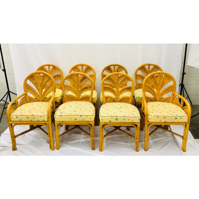 Mid 20th Century Set of Eight Vintage Bent Rattan Chairs For Sale - Image 5 of 11
