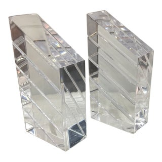 1970s Vintage Lucite Bookends - A Pair For Sale