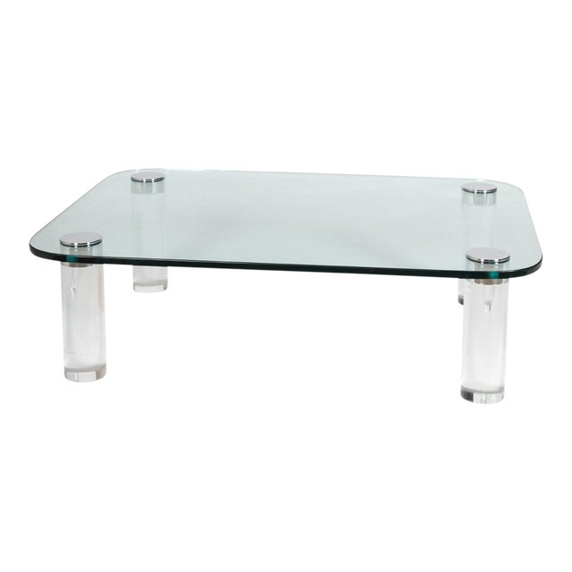 Pace Collecton Lucite and Glass Coffee Table by Leon Rosen, 1970 For Sale