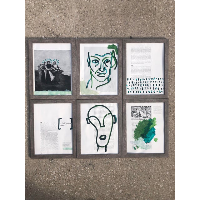 """""""A Self-Made Man,"""" a set of six acrylic paintings on paper by Virginia Chamlee. From the artist's """"Booksmart"""" series, a..."""