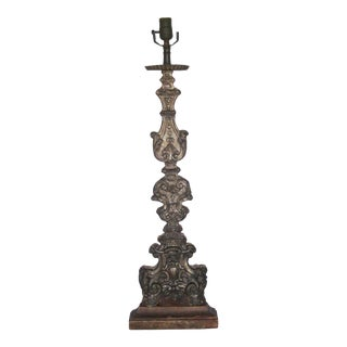Late 18th Century Antique Candlestick Table Top Lamp For Sale