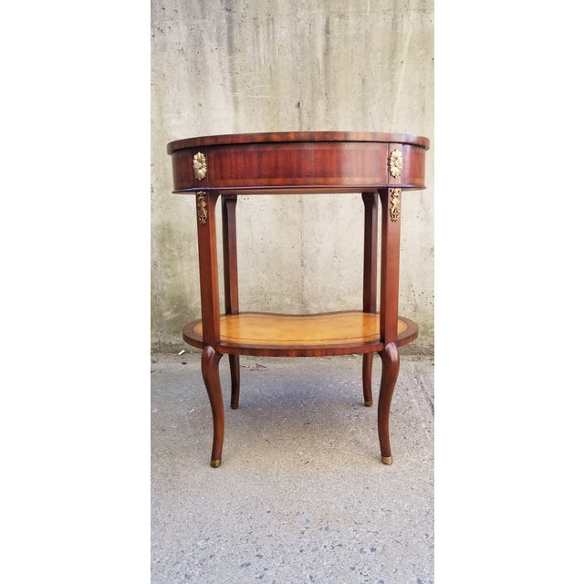 Maitland-Smith Mahogany & Sienna Leather Side Table For Sale - Image 12 of 13