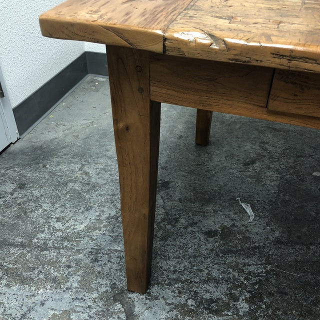 Rustic Reclaimed Two Drawer Farm Table For Sale - Image 9 of 10