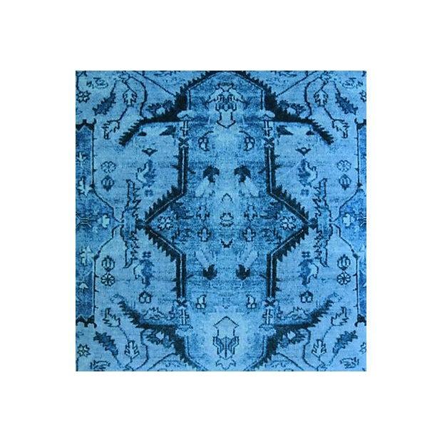 """Abstract Ralph Lauren Royal Blue Velvet Tapestry & Edelman Leather Pillows 20"""" Square - Pair For Sale - Image 3 of 12"""