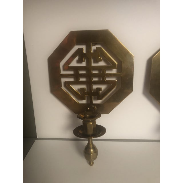 Mid-Century Wall Brass Candleholders - a Pair For Sale - Image 4 of 10