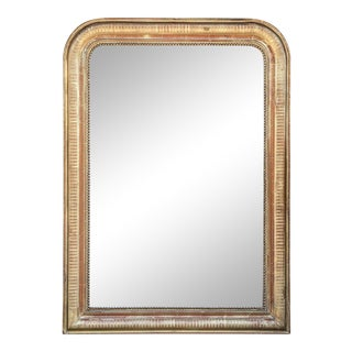 19th Century French Louis Philippe Beaded Gilt Frame Mirror