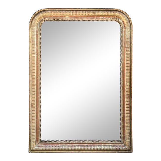 19th Century French Louis Philippe Beaded Gilt Frame Mirror For Sale