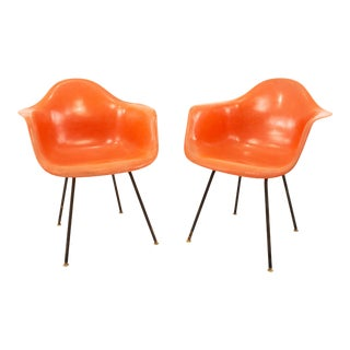 Early Herman Miller Mid Century Orange Shell Chairs - Pair For Sale