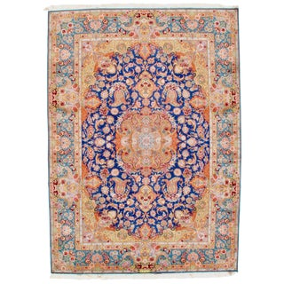 "Isfahan Handmade Silk & Wool Rug - 8'4"" x 11'7"" For Sale"