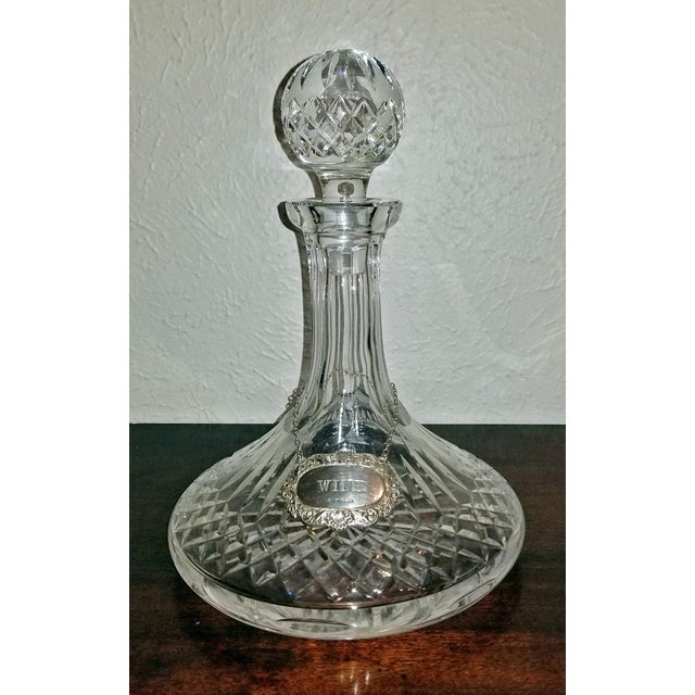 Vintage Irish Waterford Crystal Ships Decanter With Solid Silver Wine Label For Sale - Image 13 of 13