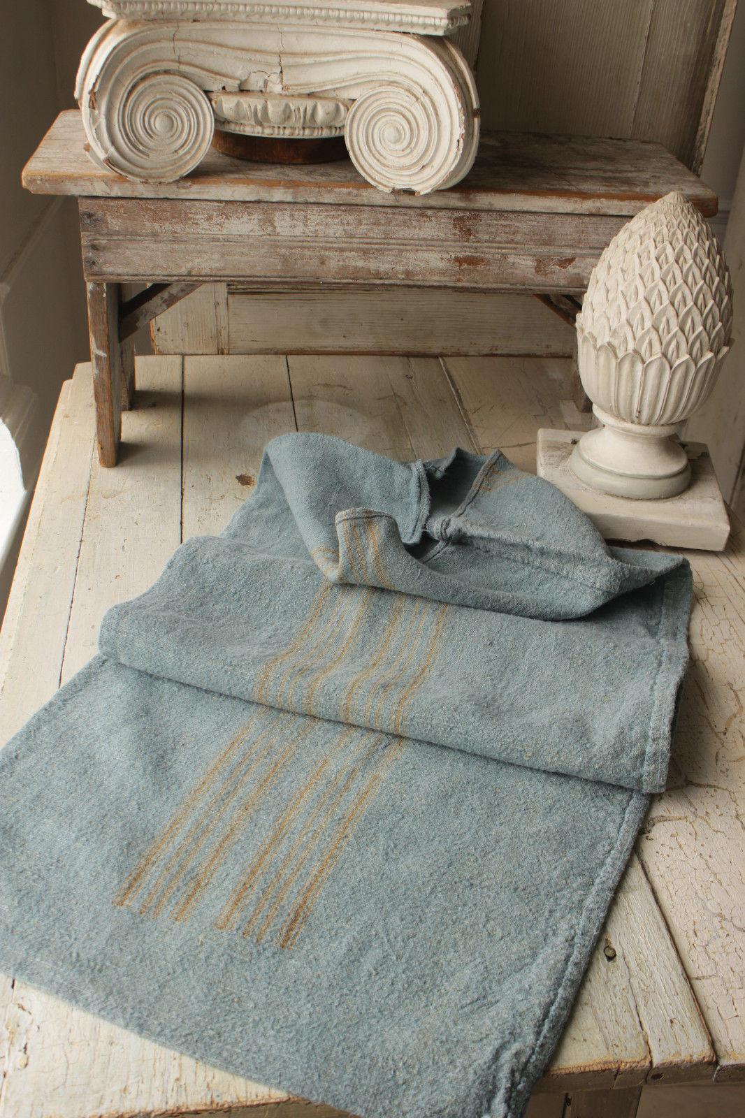 Grain Sack Gray Blue Linen Fabric GRAINSACK w// khaki stripe 19th century textile