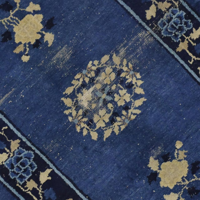 Early 20th Century Antique Blue Chinese Art Deco Rug For Sale - Image 4 of 8