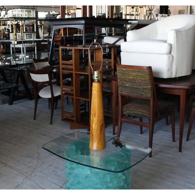 Early 20th Century Tall Teak Cone Shape Table Lamp For Sale - Image 5 of 5