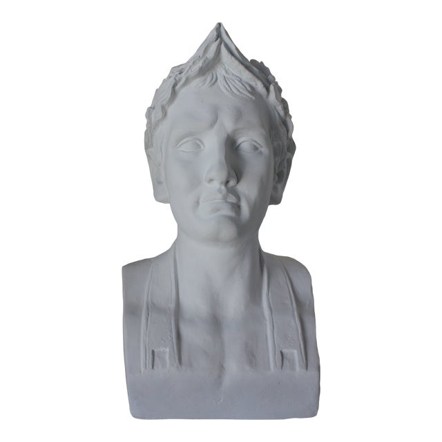 Vintage Male Bust With Laurel Wreath For Sale