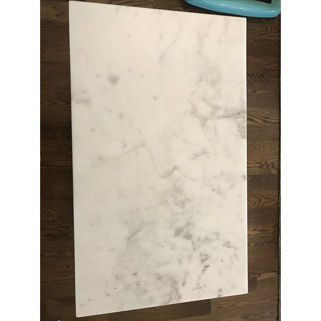 Restoration Hardware Cararra Marble Side Table - Image 4 of 7