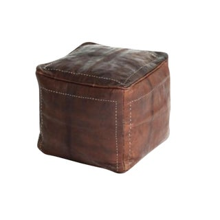 Moroccan Tannery Square Leather Pouf
