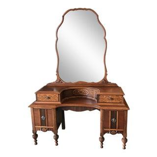 Vintage 1920s Borax Style Wood Vanity With Mirror