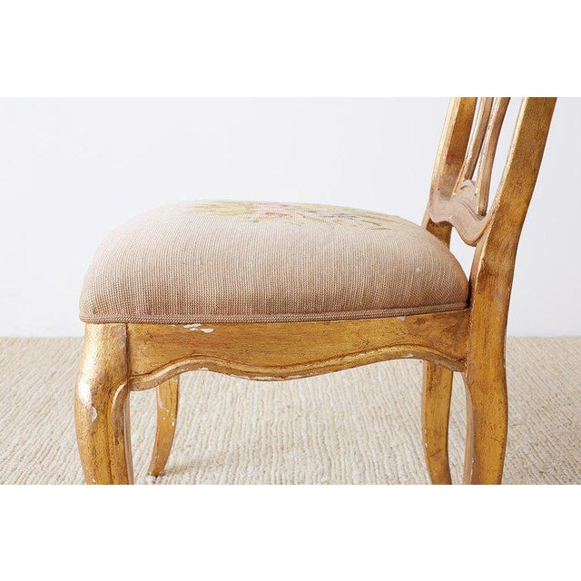 Set of Four Italian Giltwood Venetian Style Dining Chairs For Sale - Image 10 of 13
