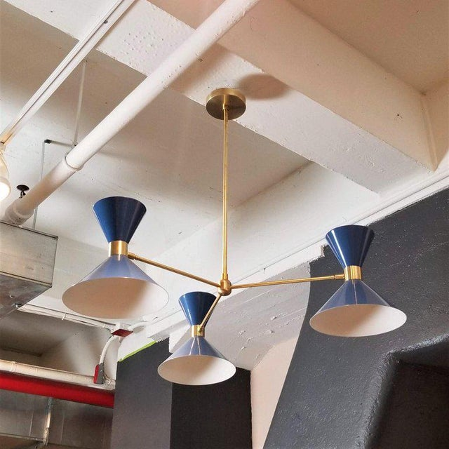 Mid-Century Modern Blueprint Lighting 'Monarch' Modern Brass + Blue Enamel 3-Arm Pendant For Sale - Image 3 of 4