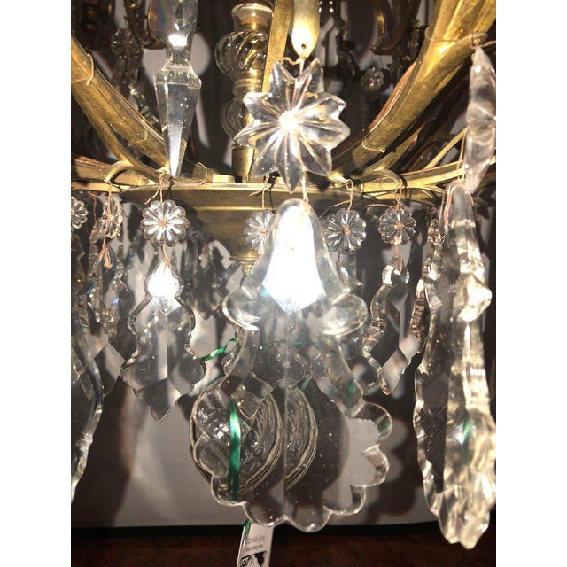 Metal Bronze and Crystal Palatial Thirty-Light Chandelier For Sale - Image 7 of 13