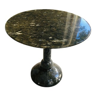 1980s Art Deco Roche Bubois Round Black Granite Bistro Table For Sale