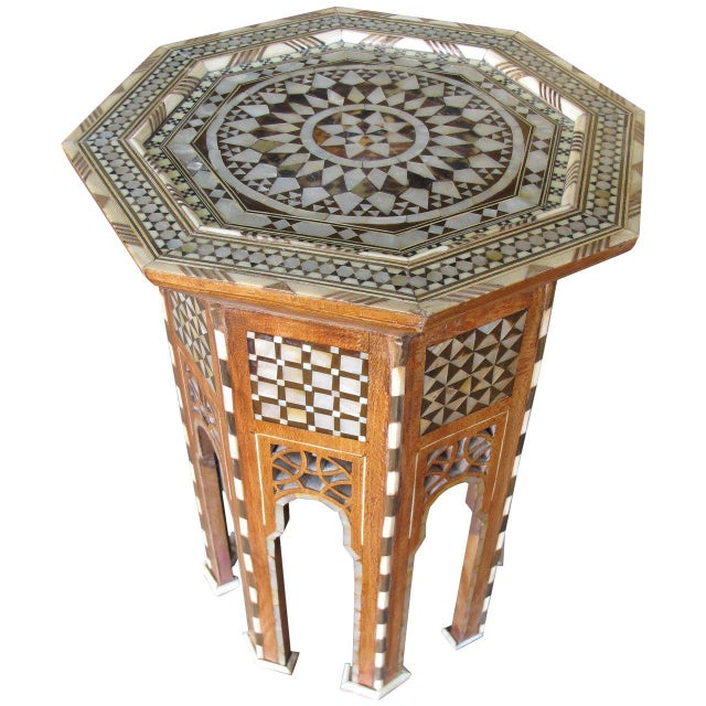 Moroccan Inlay Side Tables in Mother-Of-Pearl For Sale - Image 4 of 4