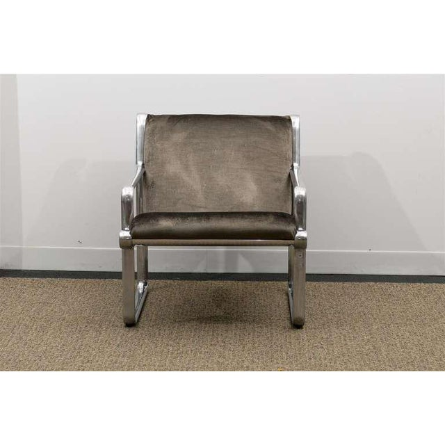 Rare Pair of Aluminum Lounge Chairs by Hannah/Morrison for Knoll For Sale - Image 9 of 10