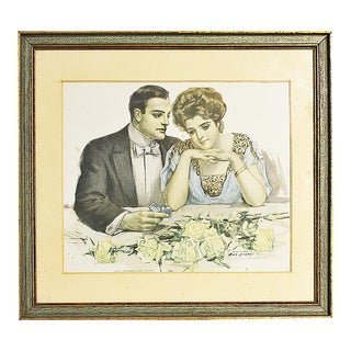 """Early 20th Century """"Diamonds Are Trumps"""" Victorian Style Lithograph Will Grefe, Framed For Sale"""