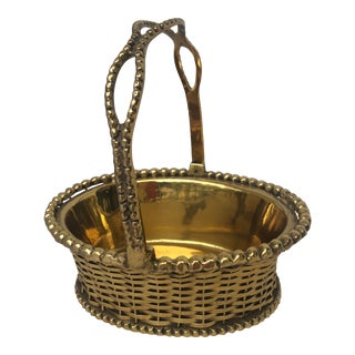 French Mini Woven Solid Brass Basket For Sale