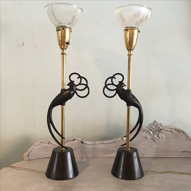 Peacock Table Lamps by Rembrandt - A Pair For Sale - Image 7 of 7