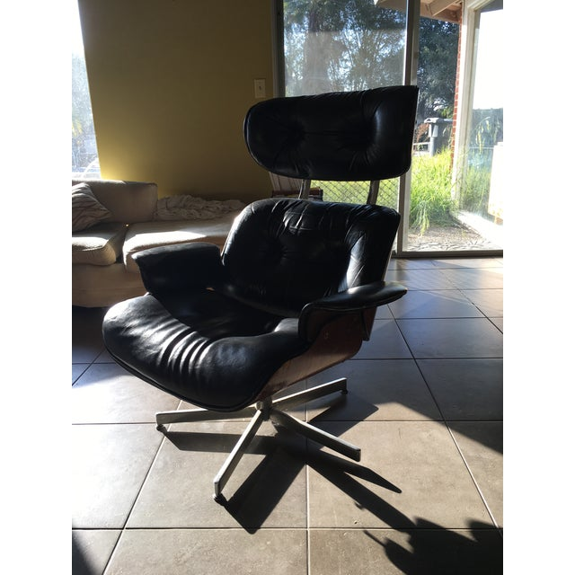Eames-Style Black Lounge Chair - Image 2 of 4
