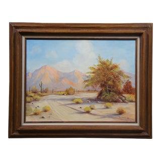 1986 Desert Landscape Oil Painting by D. Conner, Framed For Sale