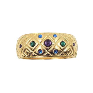 Trifari Tm Cabochon Rhinestone Cuff Bracelet For Sale