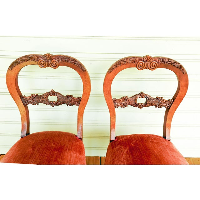 Orange Antique Walnut Hand Carved Velvet Side Chairs - a Pair For Sale - Image 8 of 12