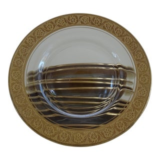 Glass Dessert Plates With Gold Floral Rim - Set of 12