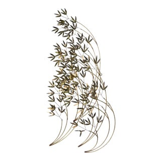 C. Jere Blowing Bamboo Brass Wall Art, Metal Wall Sculpture. For Sale