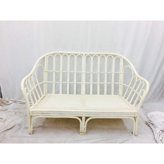 Boho Chic Vintage Rattan Love Seat Sofa For Sale - Image 3 of 9